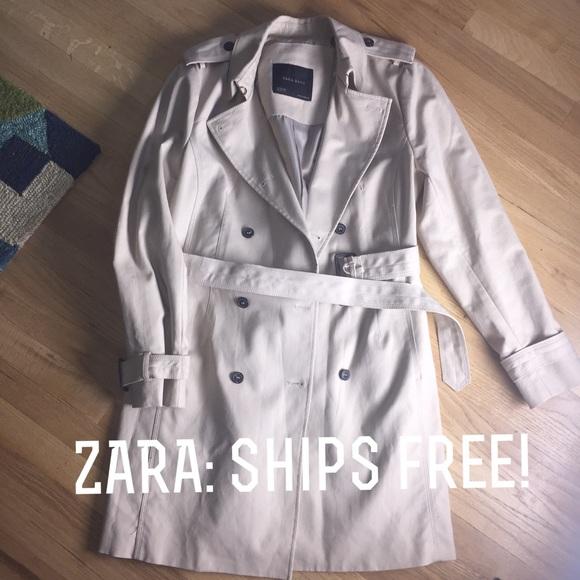 61aea55c917fe Zara cream trench coat w/ free shipping!